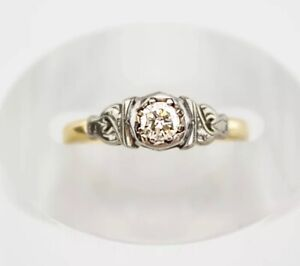 18ct Yellow & White Gold Diamond Solitaire Ring 0.15ct Ring Size N 2.6 Grams