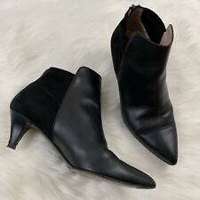 Aquatalia Marvin K Womens Size 7.5 Black Leather & Suede Kitten Bootie Boot