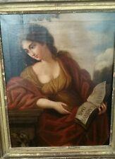 LA SIBILLA  FRANCESCO ROMANELLI seguace olio su tela XVIII sec cm 48 x 37,5