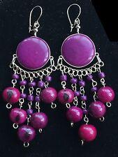 BohoCoho Quirky Lagenlook Boho Gypsy Purple & Silver Tagua Dangle Earrings