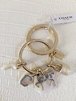 COACH Iconic Key Fob Ring Chain You Pick Letters or Horse with BOX Authentic New