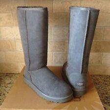 UGG Australia Classic Tall Gray Grey Suede Sheepskin Boots Size US 8 Womens