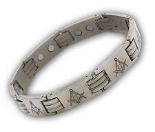 Masonic Bracelet - Stainless Steel (Silver tone) Design. Freemason Link Bracelet
