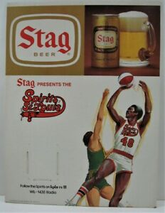 Vintage Stag Beer Presents 1975 Spirits Of St Louis NBA Basketball Schedule Sign