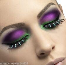 Damas Negro Verde pedrería Pestañas postizas bruja Halloween Disfraz