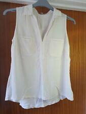 Womens size S Jigsaw sleeveless blouse ivory silk