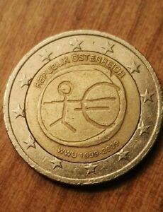 MONETA 2 euro  AUSTRIA 10° anniversario UEM ERRORE Conio stelle defect Coin