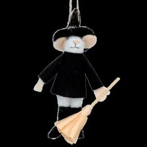 Gisela Graham Wool Mouse Halloween Wizard with Broom Hanging Decoration