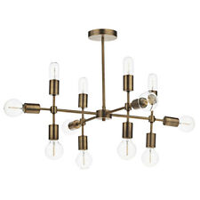 Dar Lighting Code 12 Light Geometric Pendant in Old Gold Finish - 110cm H