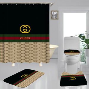 Sale 4PCS Shower Curtain Gucci Bathroom Carpet Set Bath Mat Non-slip Gift