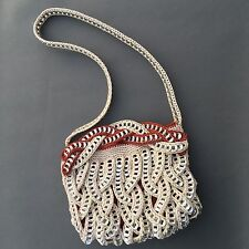 Women's Handmade Recycled Soda Pull Tab Purse Beige Orange Cross Body Crochet