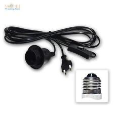 Câble douille pour lampe E27 + INTERRUPTEUR 3,5m m de Réseau Prise Euro Noir