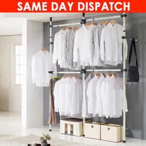 Telescopic Wardrobe Organizer Heavy Duty Movable Hanging Rail Garment Rack UK