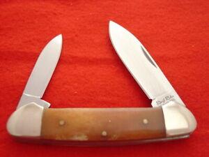 "Rough Rider Knives 3-5/8"" Orange Bone 2 Blade canoe knife MINT"