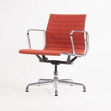 2006 Eames Herman Miller Aluminum Group Management Desk Chair Red Orange Fabric
