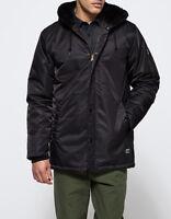 Obey Men's Winston Faux Fur Jacket Hooded Full Zipper Black Size Medium Large