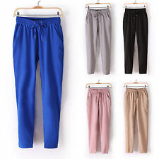 Women Chiffon Harem Pants Casual Sports Elastic Drawstring Loose OL Trousers
