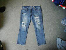 """American Eagle Slouchy Jeans Size 6 Leg 27"""" Faded Dark Blue Ladies Jeans"""