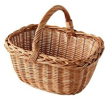 More details for oval natural wicker vegetable shopping picnic basket with handle new