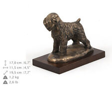 Black Russian Terrier, dog bust/statue on wooden base , ArtDog , Ca
