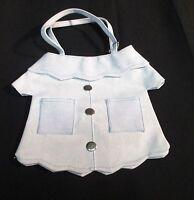 Little Girls Purse Handbag - Plastic - Denim Shirt Look with Zipper Light Blue