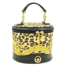 GIANNI VERSACE Sun Face Vanity Hand Bag Black Yellow PVC Leather Auth gt157