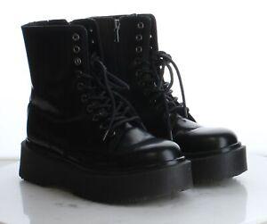 53-38 $130 Women's Sz 7.5M Jeffrey Campbell Sopas Lugged Platform Boot in Black