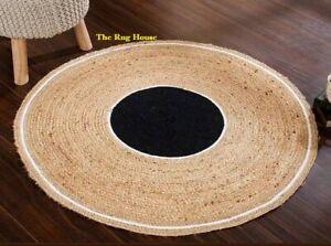 Rug 100% Natural Jute Reversible Round Handmade Modern Living Carpet  Area Rugs