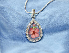 HAND MADE JEWELLERY,REAL FLOWERS  PENDANT-(TEAR-DROP )