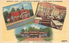 1940s Moore Brick Cottages Chester Virginia Roadside Teich linen postcard 11441