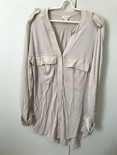 Witchery Vneck Stretchy Blouse Top SiZe L 12 Neutral Sand Beige Minor Faults