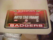 WISCONSIN BADGERS METAL CHROME AUTO TAG FRAME NCAA NEW IN PACK