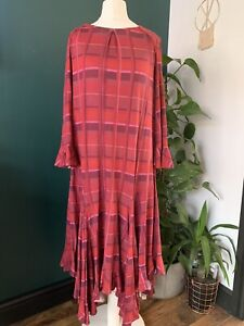 Studio by Preen - pink red Check Print Midi Shirt Dress  Size 14