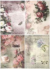 Carta di riso per Decoupage Decopatch Scrapbook Craft sheet a/3 Vintage Rose SPLIT