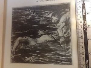 1920s Lithographic print The Pursuit by Charles Shannon: swimming, swimmers