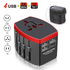 Worldwide Travel All-in-one Universal Power Plug Converter with 3 USB+1 Type-C T