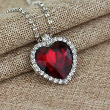 New RUBY RED CRYSTAL HEART NECKLACE Titanic Pendant Heart of the Ocean
