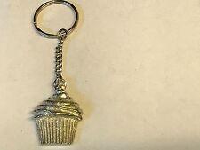 Big Cupcake TG177 English Pewter on a Split Ring Keyring