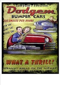 Dodgems Bumper Cars Vinatge Style Metal Sign Kitchen  Vintage Fairground Sign