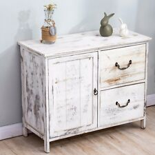 CTF Distressed White Paulownia Wood Shabby Chic Sideboard Drawer Chest