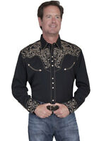 Men's Western Shirt Black Long Sleeve Rockabilly Country Cowboy Embroidered