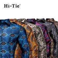 Mens Shirts Long Sleeve Silk Button Regular Formal Dress Floral Wedding S L XL