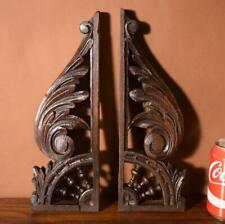 "Pair of 13"" Antique French/Breton Wood Brackets/Corbels/Trim/Crest"