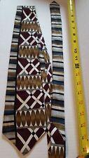 Feraud Maroon White Gold Blue Pattern Mens Designer Neck Tie