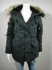 New RALPH LAUREN D&S Military Snorkel Down Jacket American Flag Black size XS