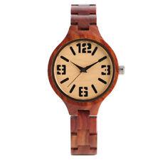 Trendy Bamboo Wooden Band Student Women Quartz Wrist Watch Halloween Gift