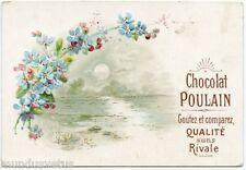 CHROMO. Chocolat POULAIN. Paysage .Fleurs .Gaufré .Landscape . Flowers. embossed