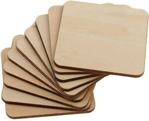 Wooden Squares Cup Coaster,Wood DIY Craft Blanks Unfinished Chock for Decoration