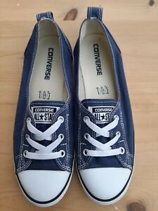 Lovely Converse Blue CTAS Ballet Style Lace Slip On Trainers Size 6 VGC