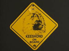 Keeshond On Board Dog Breed Yellow Car Swing Sign Gift